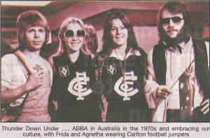 Thunder Down under … ABBA in Australia in the 1970s and embracing our culture, with Frida and Agnetha wearing Carlton football jumpers